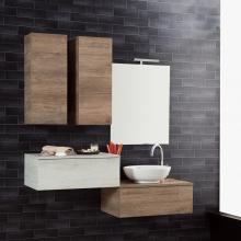 Composition Suspendue salle de bains Unika 140 orme naturel et blanc
