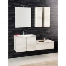 Composition Suspendue salle de bains Unika cm 140 orme blanc