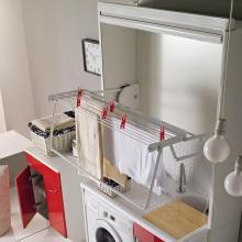 Séchoir en bois pour lavabos et couvre machine à laver Stender Blanc