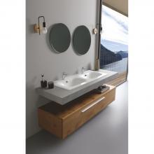 Lavabo encastré double vasque 121x51x h 16,8 cm Soft
