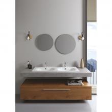 Lavabo encastré double vasque 121x46x h 16,8 cm Soft