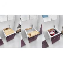 Lavoir d'intérieur 60x60xH86 avec axe de lavage et deux portes Swash