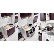 Lavoir d'intérieur avec planche lave-linge 80x60xH86 Twist Aubergine
