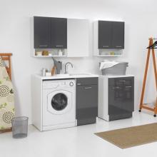 Meuble couvre machine à laver avec panier à linge 106x60xH89 Duo Porte Droite