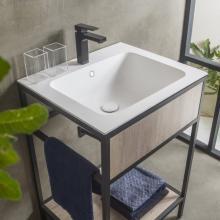 Meuble pour lavabo avec évier en céramique et étagère Skema