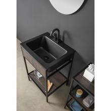 Meuble pour lavabo avec évier noir en céramique et étagère Skema
