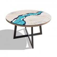 Table moderne en bois et lave incorporé River