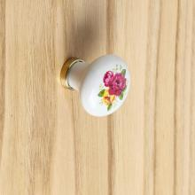Bouton Rond Blanc finition Or cm 31