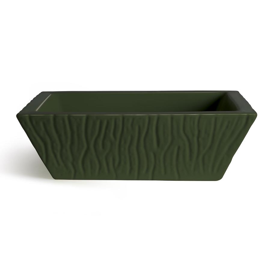 Lavabo à Poser/Suspendu Rectangulaire Pietra Vert Anglais Brillant