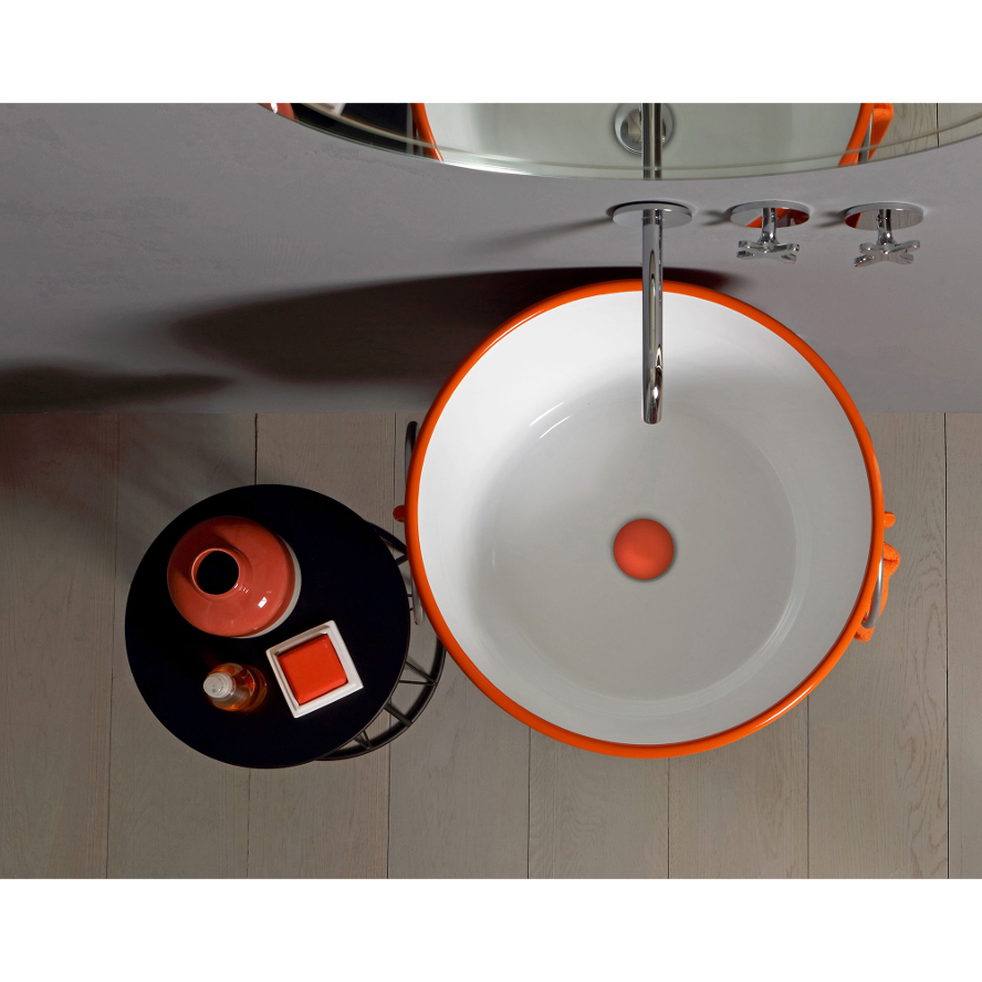 Lavabo à Poser/Suspendu Rond Bacile Orange Energie Brillant