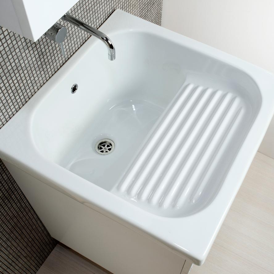 Meuble lavoir blanc + céramique Corallo