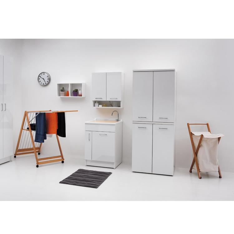 Lavoir d'intérieur 60x60xH86 cm avec lave-linge et panier à linge Jollywash