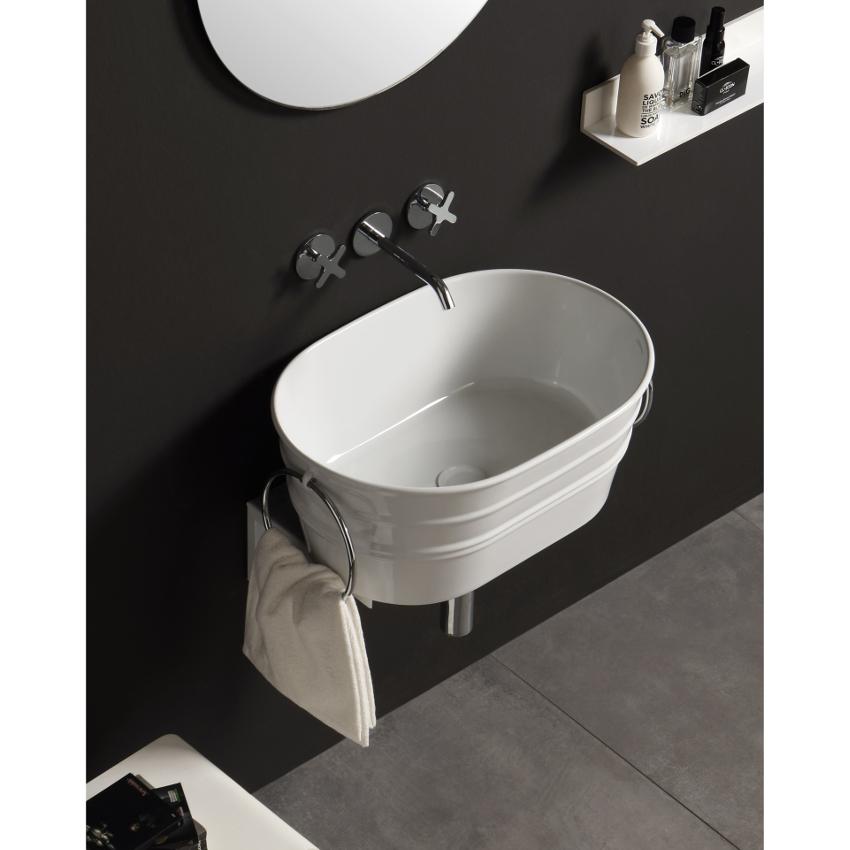Lavabo ovale à poser/suspendu Tinozza Blanc Brillant