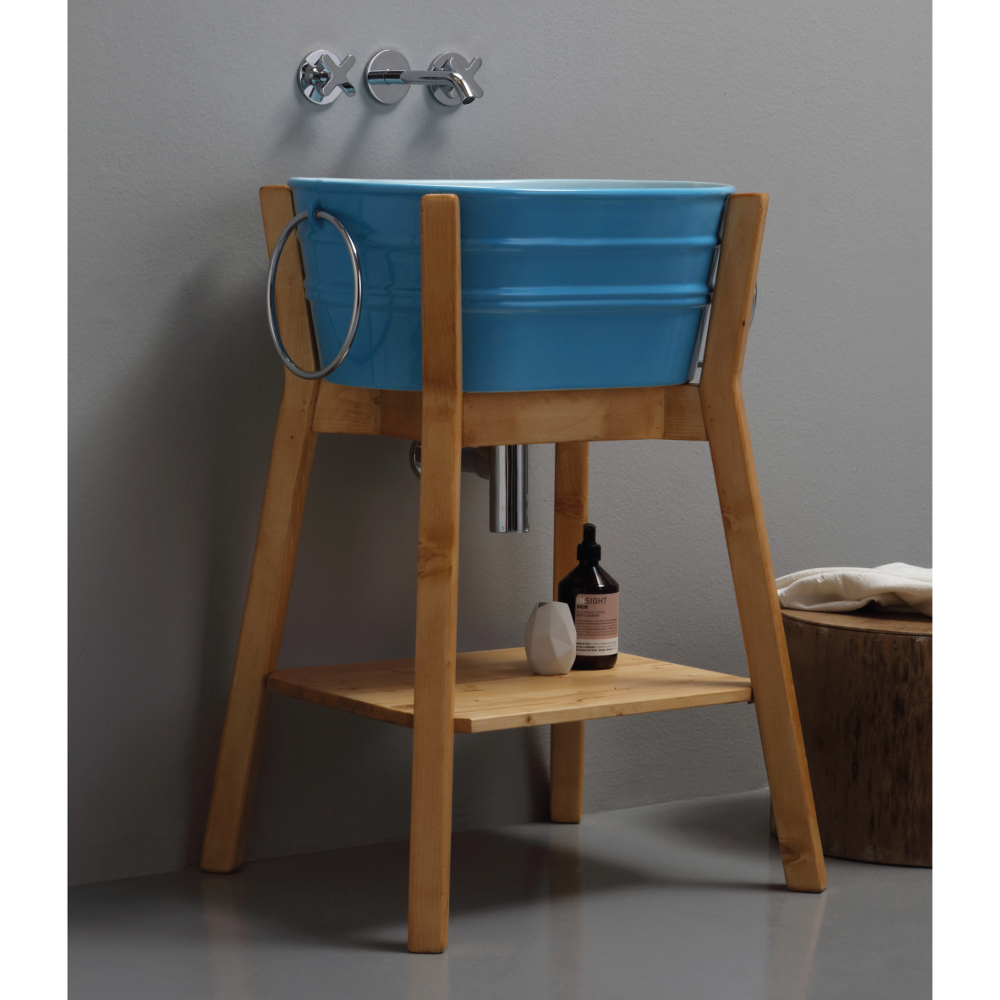 Structure porte-lavabo haute en bois Tinozza