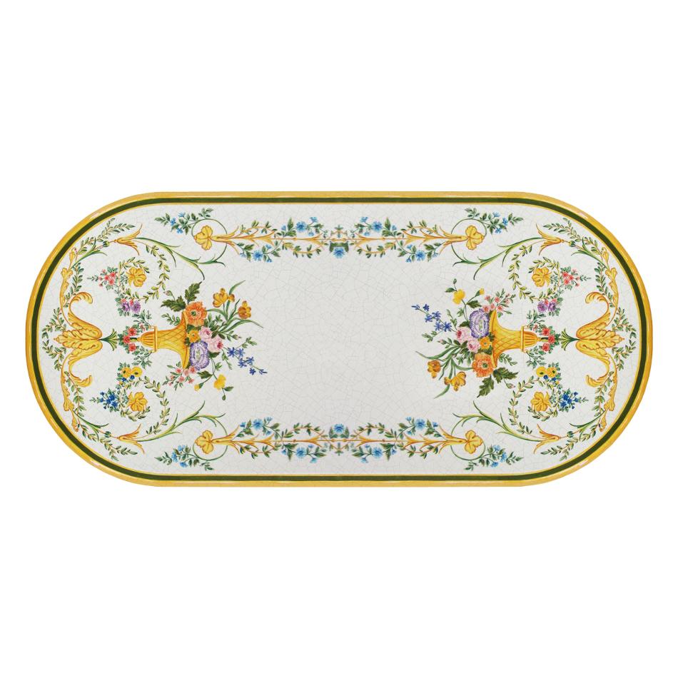 Table ovale en pierre de lave Settecento