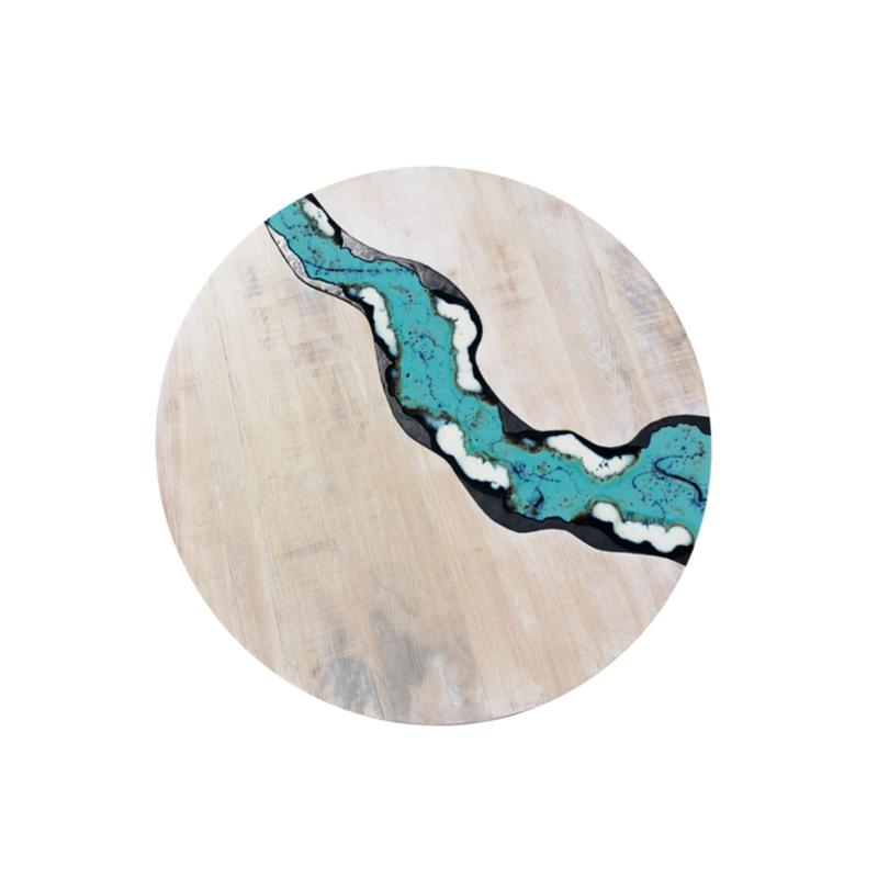 Table moderne en bois et lave incorporé River