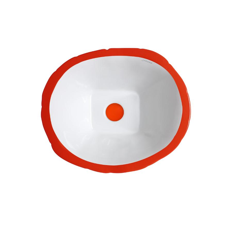 Lavabo à Poser/Suspendu Ovale Terra Rouge Passion Brillant